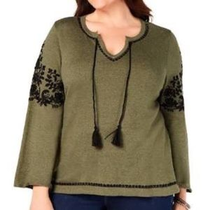 Style & Co Boho Embroidered Pullover Sweater 1X